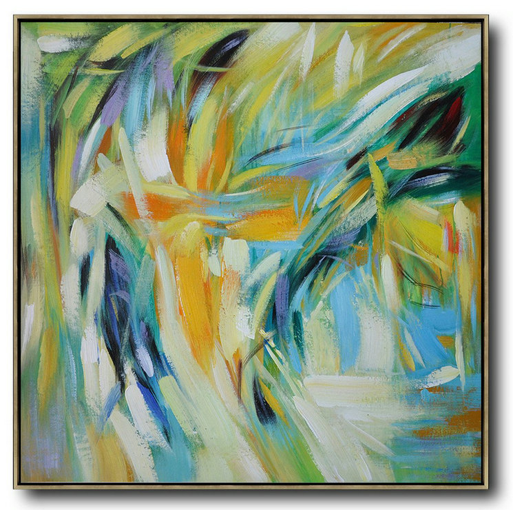 Large Abstract Art,Oversized Contemporary Art,Contemporary Art Wall Decor Yelloe,Green,Blue,White