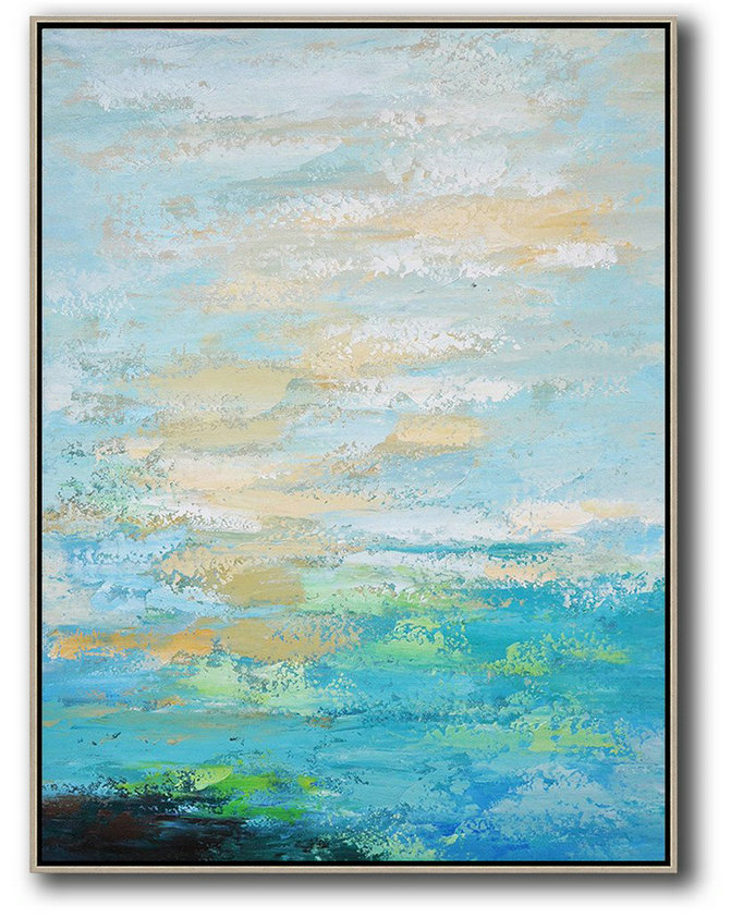 Large Abstract Painting,Vertical Palette Knife Contemporary Art,Xl Large Canvas Art Blue,Yellow,White