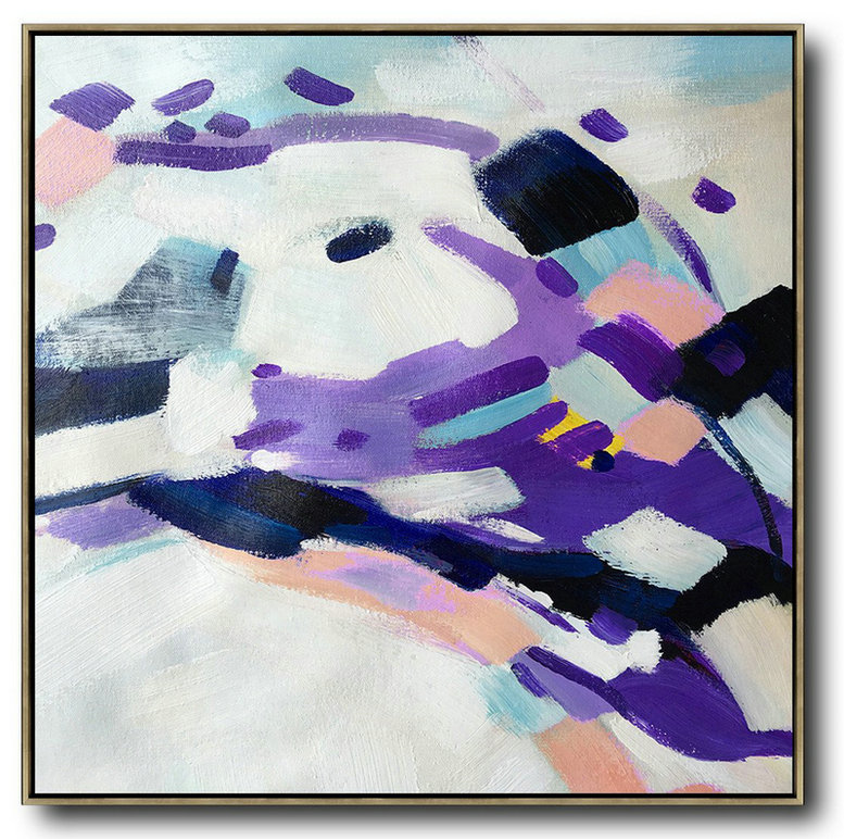 Large Contemporary Art Acrylic Painting,Oversized Contemporary Art,Living Room Wall Art White,Purple,Pink,Black