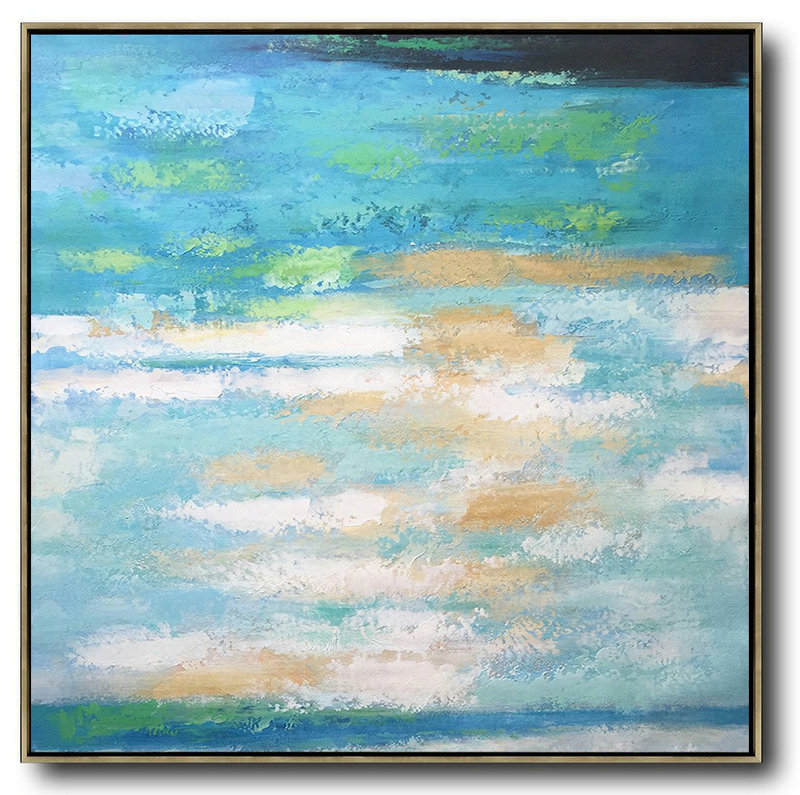 Extra Large Textured Painting On Canvas,Oversized Contemporary Art,Modern Wall Decor White,Blue,Green,Yellow