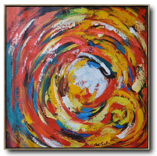 Handmade Large Contemporary Art,Oversized Contemporary Art,Big Painting Red,White,Yellow,Blue