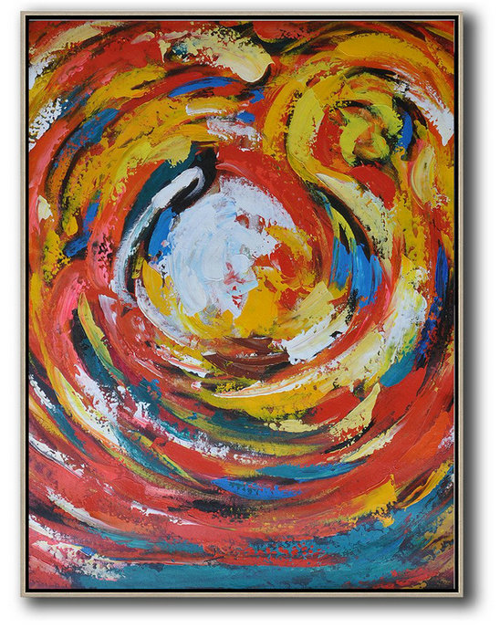 Original Extra Large Wall Art,Vertical Oversized Horizontal Palette Knife Abstract Floral Painting On Canvas,Contemporary Art Canvas Painting Red,White,Yellow,Blue