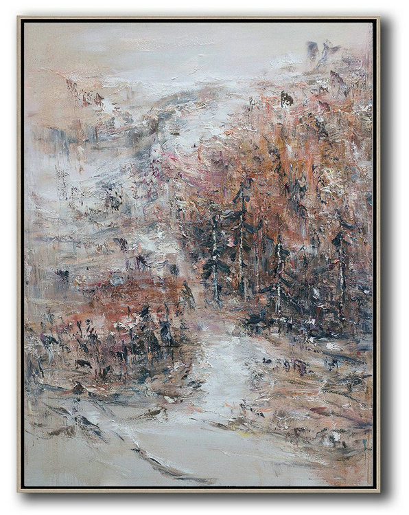 Large Abstract Painting,Original Abstract Landscape Oil Painting On Canvas,Hand Paint Large Art Grey,White,Pink,Brown