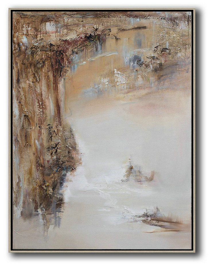 Large Abstract Art Handmade Oil Painting,Abstract Landscape Oil Painting,Original Art Acrylic Painting Brown,White,Grey