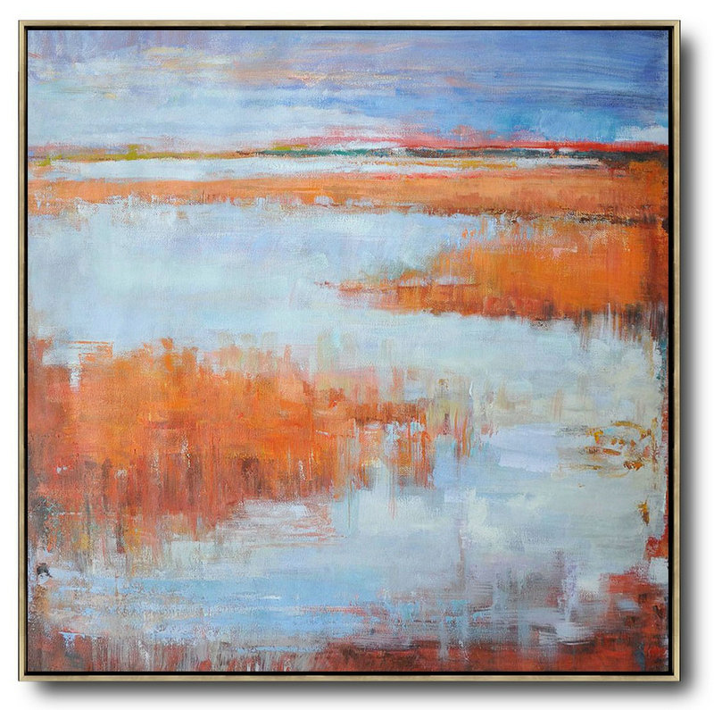 Abstract Painting Extra Large Canvas Art,Oversized Abstract Landscape Oil Painting,Original Abstract Painting Canvas Art Orange,Blue,Gray
