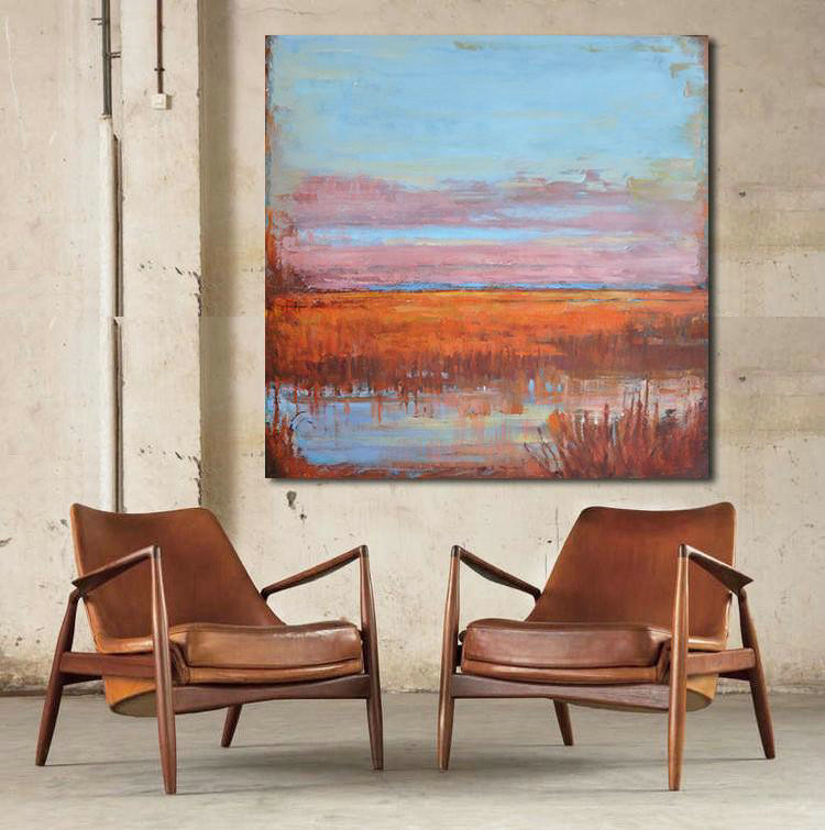 Extra Large Canvas Art,Oversized Abstract Landscape Oil Painting,Large Abstract Art Handmade Acrylic Painting Blue,Pink,Red
