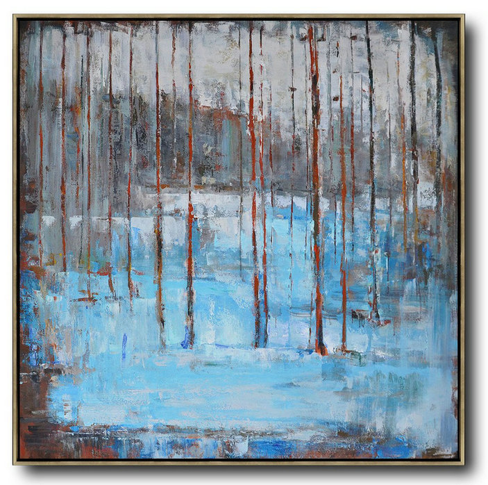 Extra Large Abstract Painting On Canvas,Oversized Abstract Landscape Oil Painting,Original Abstract Painting Canvas Art Blue,Gray,Red