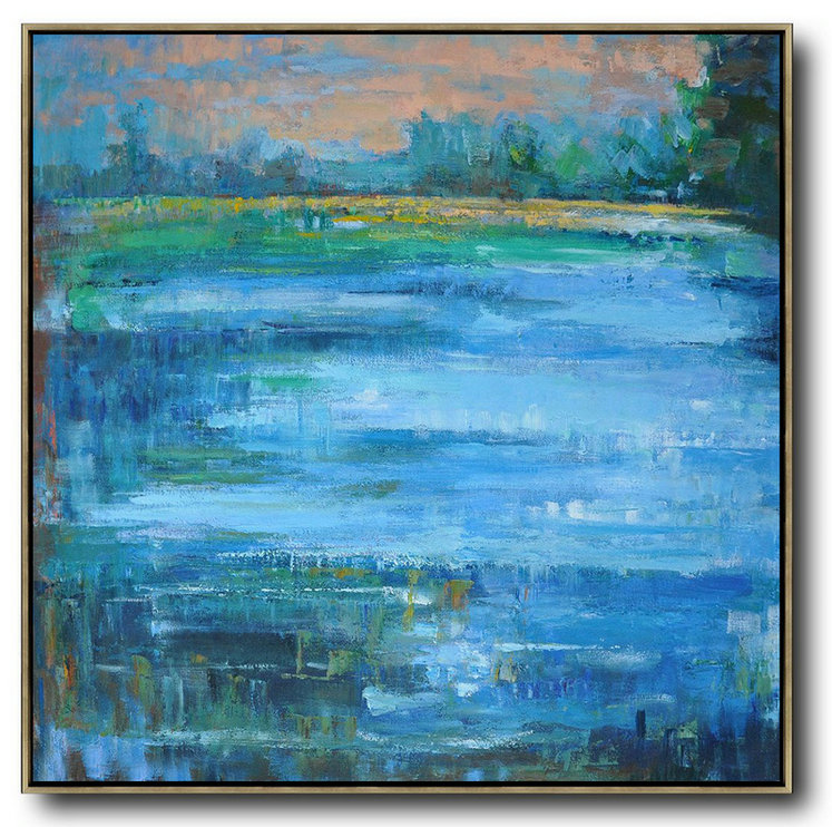 Handmade Large Contemporary Art,Oversized Abstract Landscape Oil Painting,Abstract Oil Painting Blue,Green,Yellow,Nude