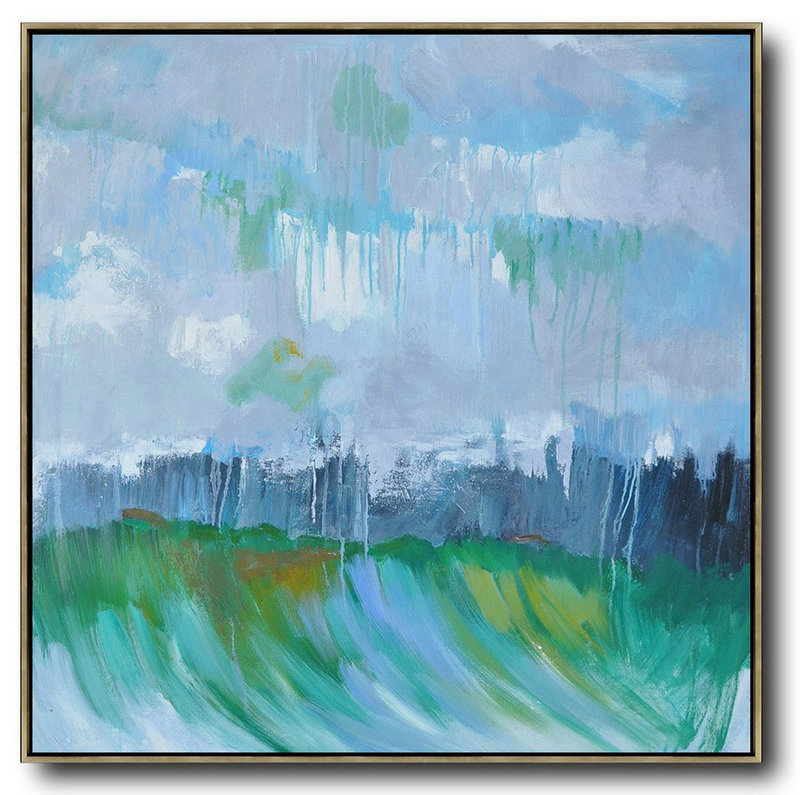 Handmade Large Painting,Oversized Abstract Landscape Oil Painting,Modern Art Abstract Painting Gray,Green,Dark Blue