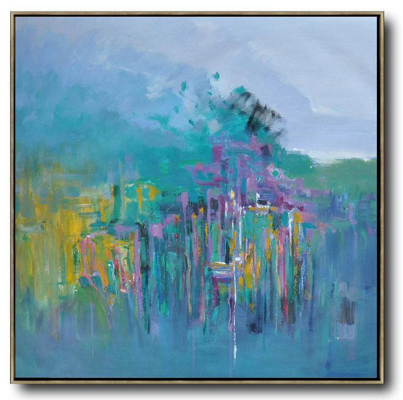 Original Artwork Extra Large Abstract Painting,Oversized Abstract Landscape Oil Painting,Large Canvas Art,Modern Art Abstract Painting Blue,Green,Yellow,Purple