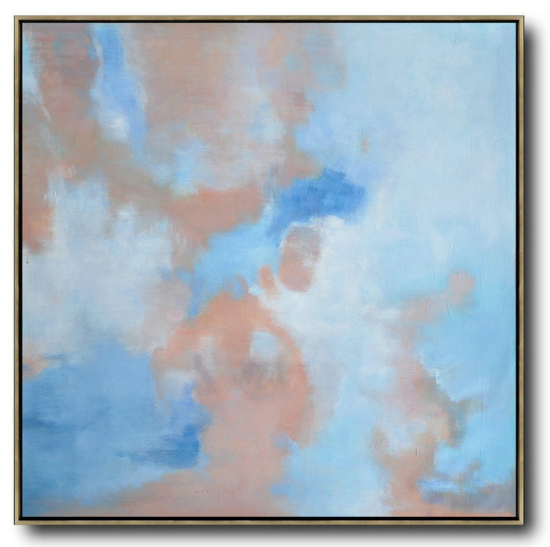 Extra Large Acrylic Painting On Canvas,Oversized Abstract Landscape Oil Painting,Original Art Acrylic Painting Blue,Pink,White