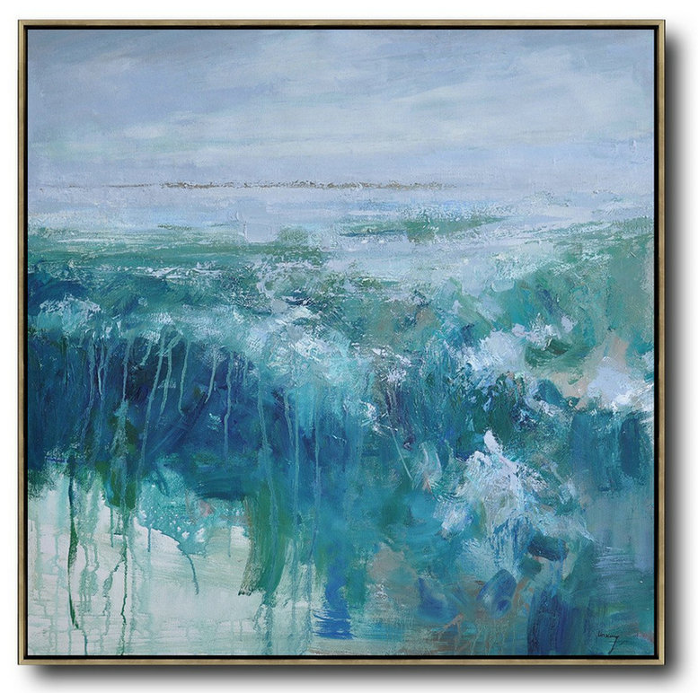 Original Abstract Painting Extra Large Canvas Art,Oversized Abstract Landscape Oil Painting,Acrylic Painting On Canvas Blue,Green,Gray