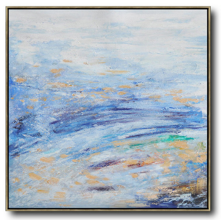 Abstract Painting Extra Large Canvas Art,Oversized Abstract Landscape Oil Painting,Modern Art Blue,White,Blue
