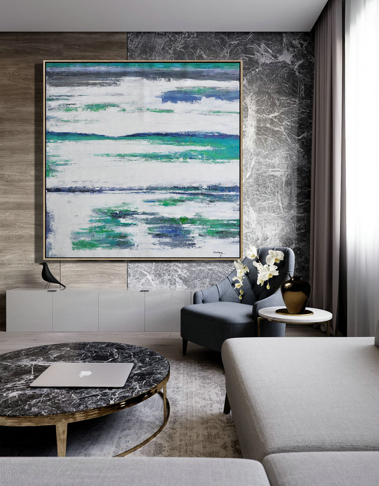 Abstract Painting Extra Large Canvas Art,Large Abstract Landscape Oil Painting On Canvas,Modern Wall Art Green,White,Blue