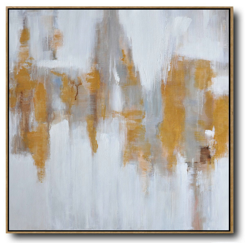 Large Abstract Painting Canvas Art,Large Abstract Landscape Oil Painting On Canvas,Hand Paint Abstract Painting White,Gray,Yellow