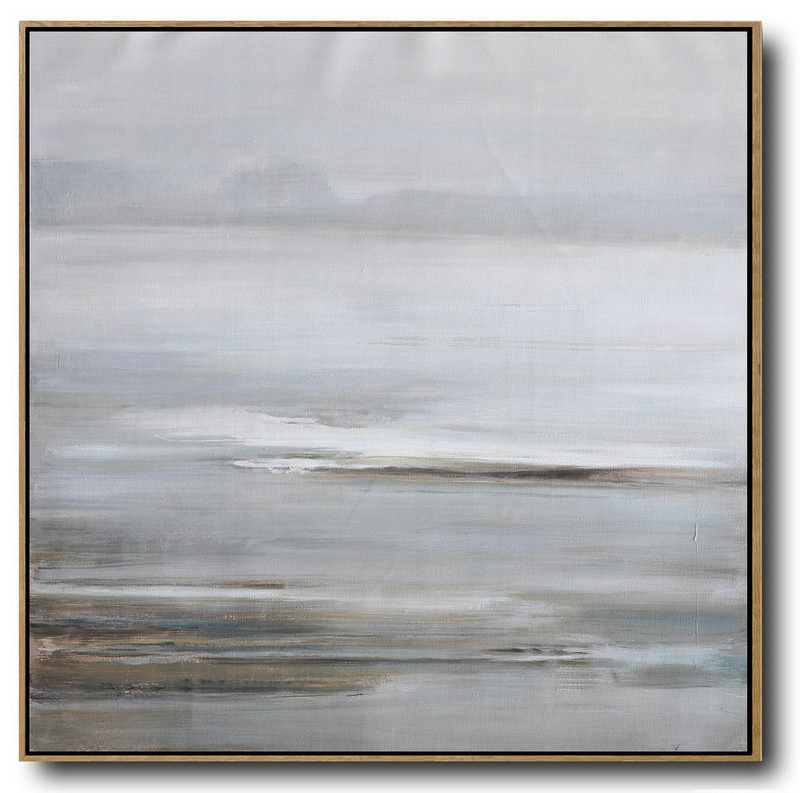 Large Abstract Painting On Canvas,Large Abstract Landscape Oil Painting On Canvas,Oversized Art Gray,White,Yellow