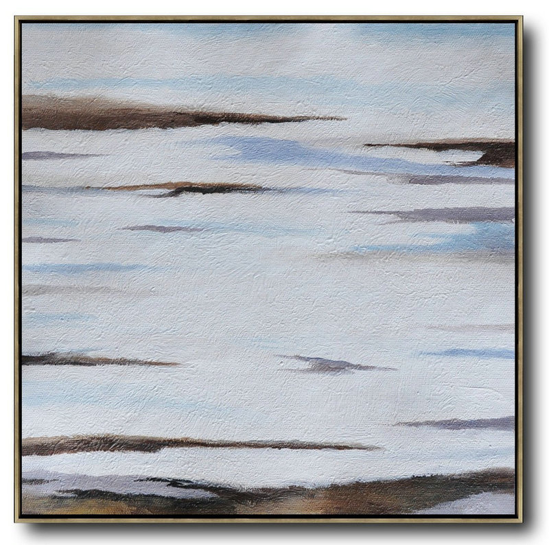 Large Abstract Art,Oversized Abstract Landscape Painting,Large Oil Canvas Art Brown,White,Blue