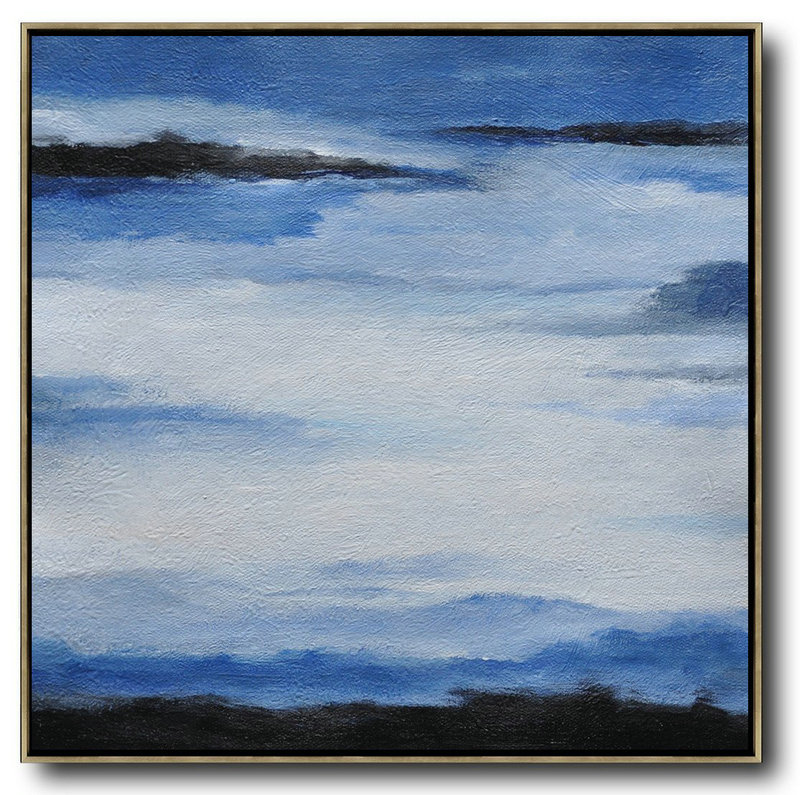 Original Extra Large Wall Art,Oversized Abstract Landscape Painting,Modern Paintings On Canvas Black,Blue,White