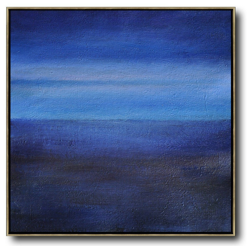 Large Modern Abstract Painting,Oversized Abstract Landscape Painting,Large Paintings For Living Room Dark Blue,Sky Blue,Black