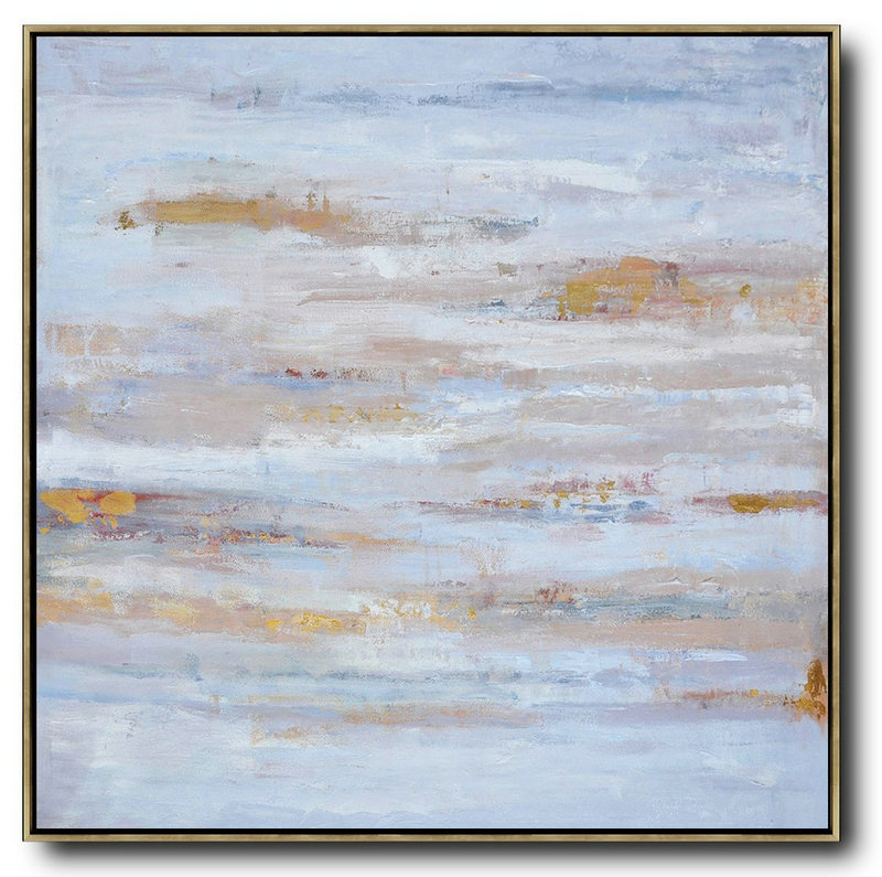 Extra Large Acrylic Painting On Canvas,Oversized Contemporary Oil Painting,Hand-Painted Contemporary Art Sky Blue,Gray,White