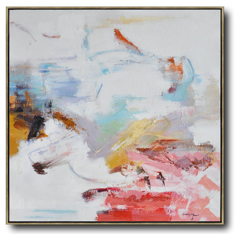 Abstract Painting Extra Large Canvas Art,Oversized Contemporary Oil Painting,Original Modern Art,Large Wall Art Handmade White,Red,Blue,Yellow