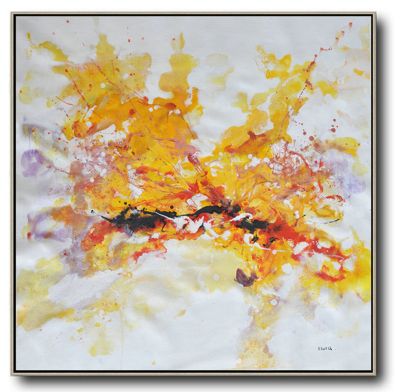 Handmade Painting Large Abstract Art,Oversized Abstract Oil Painting,Hand Paint Large Art Yellow,White,Purple,Red