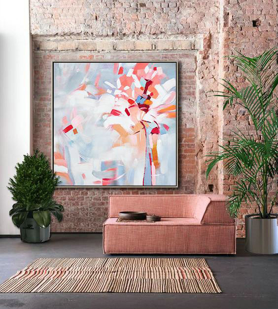 Abstract Painting Extra Large Canvas Art,Oversized Abstract Flower Painting,Large Contemporary Painting Pink,White,Gray
