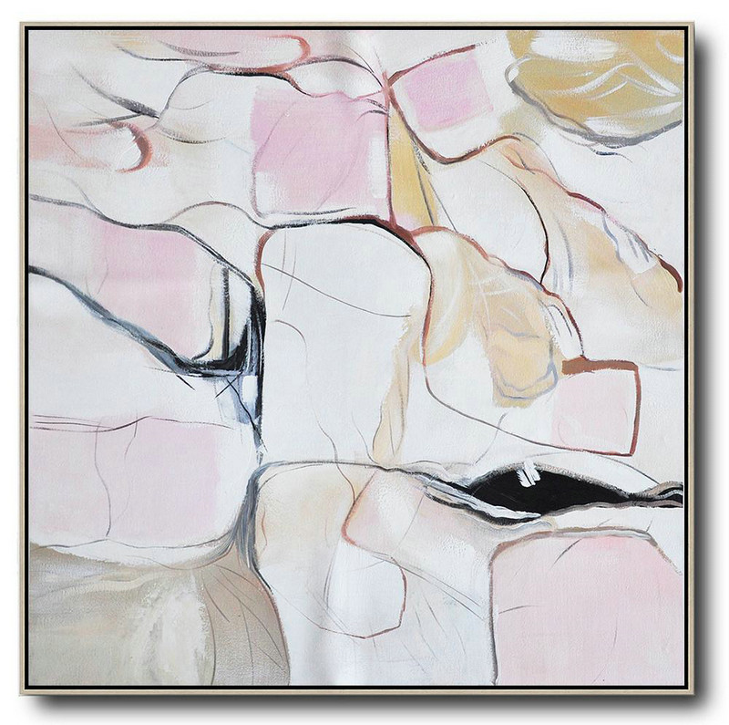 Large Abstract Painting Canvas Art,Oversized Abstract Painting,Acrylic Painting On Canvas White,Pink,Yellow,Gray