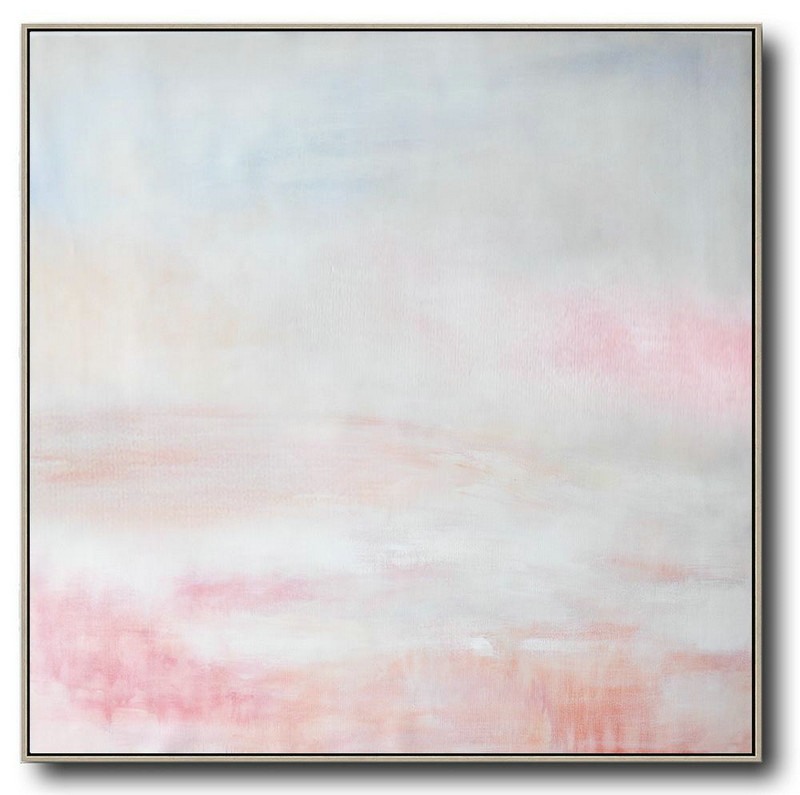 Original Abstract Painting Extra Large Canvas Art,Oversized Abstract Painting,Wall Art Painting White,Gray,Pink