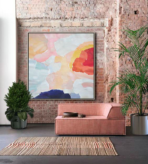 Original Artwork Extra Large Abstract Painting,Oversized Abstract Art,Canvas Paintings For Sale Red,White,Pink,Blue