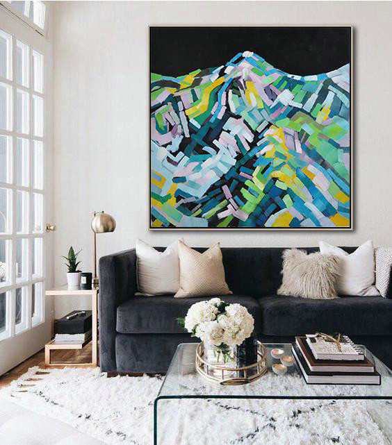 Large Abstract Painting On Canvas,Oversized Abstract Landscape Painting,Large Colorful Wall Art Black,Green,Blue,White