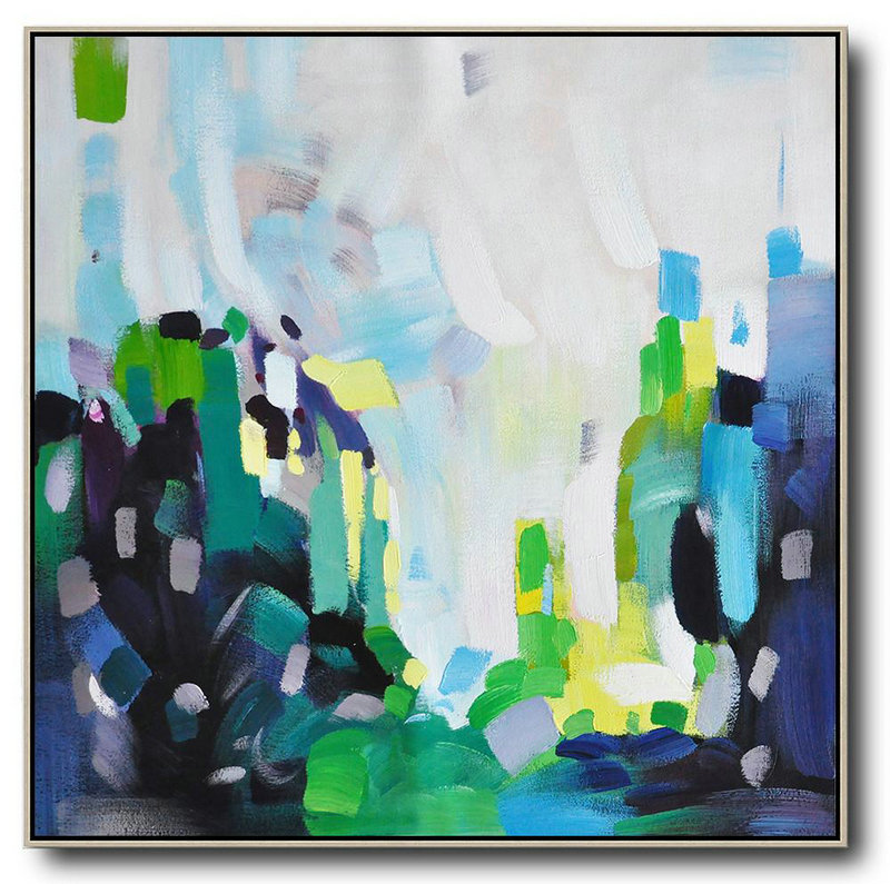 Huge Abstract Painting On Canvas,Oversized Abstract Art,Extra Large Canvas Art,Handmade Acrylic Painting White,Green,Black,Yellow