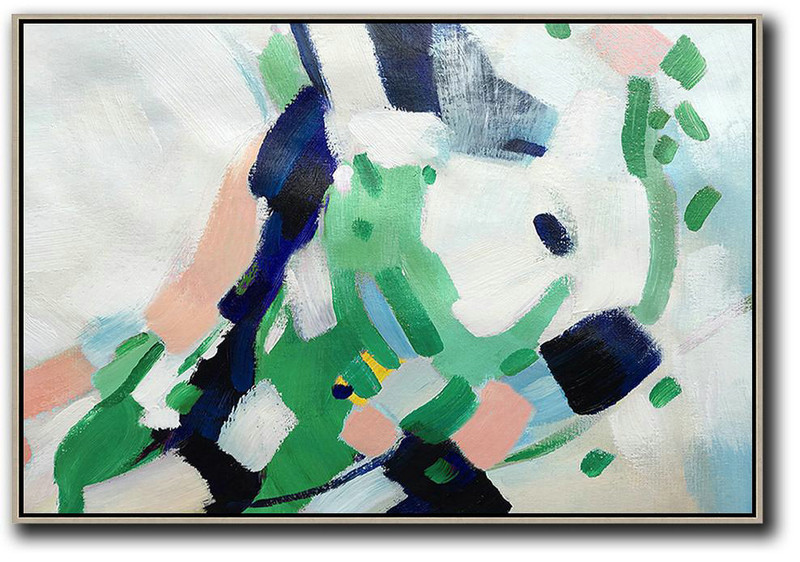 Large Abstract Painting On Canvas,Oversized Horizontal Contemporary Art,Hand Painted Abstract Art White,Pink,Dark Blue,Green