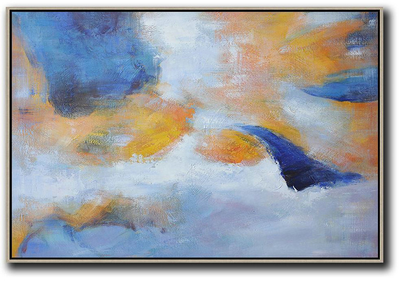 Handmade Extra Large Contemporary Painting,Oversized Horizontal Contemporary Art,Big Art Canvas Blue,Yellow,White,Grey
