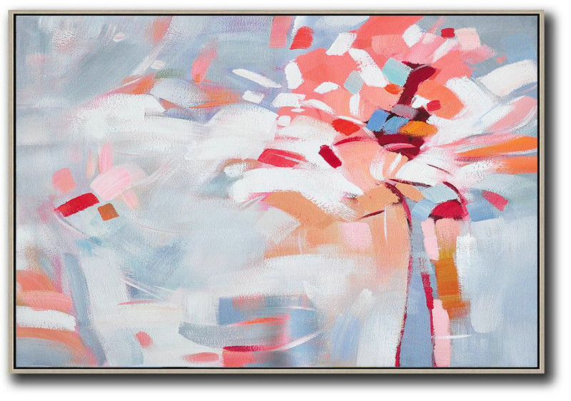 Extra Large Abstract Painting On Canvas,Oversized Horizontal Contemporary Art,Large Canvas Art White,Pink,Red,Grey