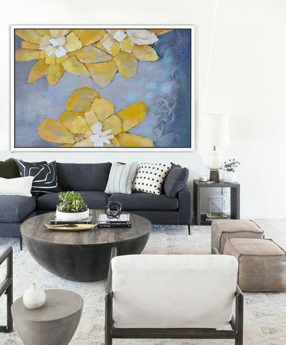 "Extra Large 72"" Acrylic Painting,Oversized Horizontal Abstract Art,Huge Abstract Canvas Art Yellow,Purple Grey,White"