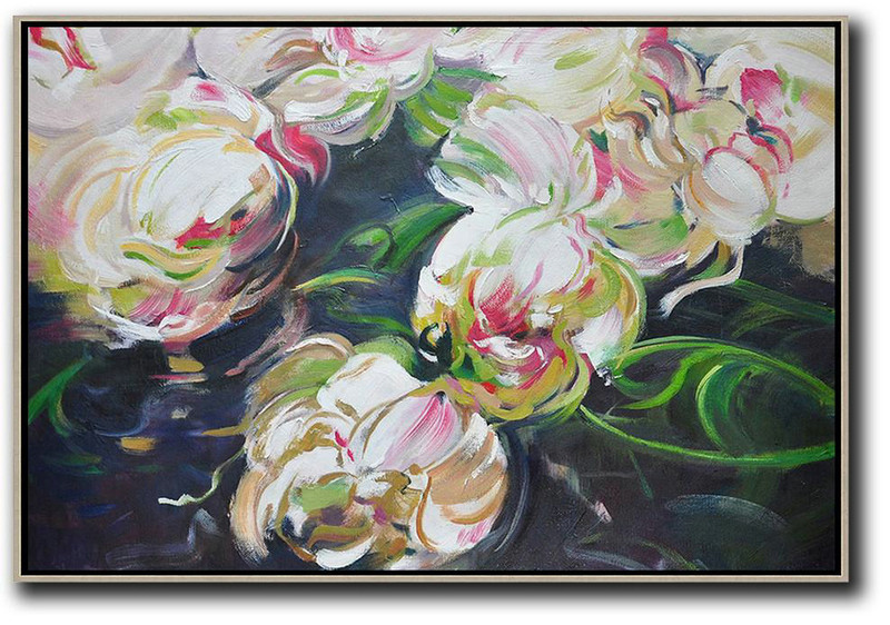 Oversized Canvas Art On Canvas,Horizontal Abstract Flower Oil Painting,Large Colorful Wall Art White,Green,Black
