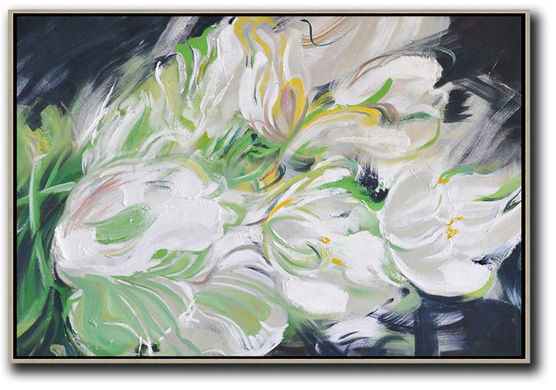 Abstract Painting Extra Large Canvas Art,Horizontal Abstract Flower Oil Painting,Large Living Room Decor White,Light Green,Grey,Black