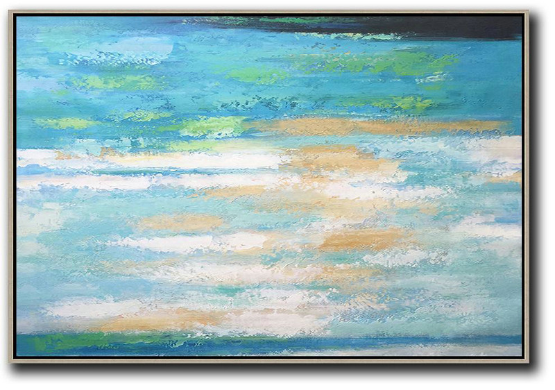 Large Modern Abstract Painting,Oversized Horizontal Abstract Landscape Art,Modern Art Blue,Earthy Yellow,White