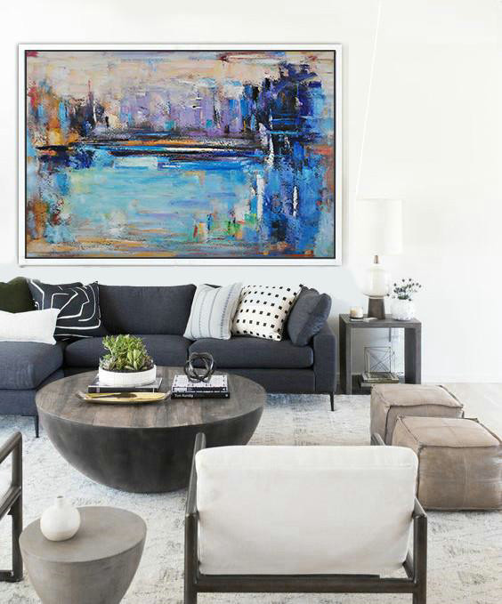 "Extra Large 72"" Acrylic Painting,Oversized Horizontal Contemporary Art,Hand Painted Acrylic Painting Blue,Purple,Dark Blue,Brown"