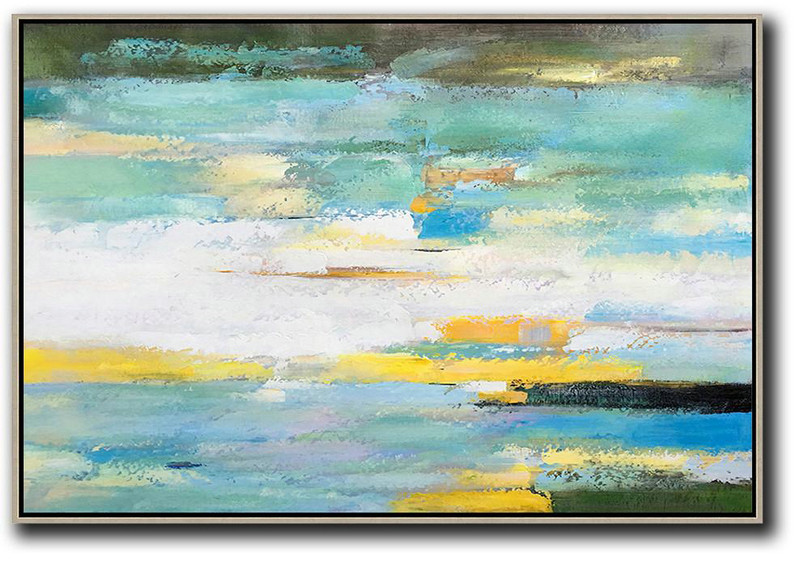 Huge Abstract Painting On Canvas,Oversized Horizontal Abstract Landscape Art,Large Abstract Wall Art White,Yellow,Light Green
