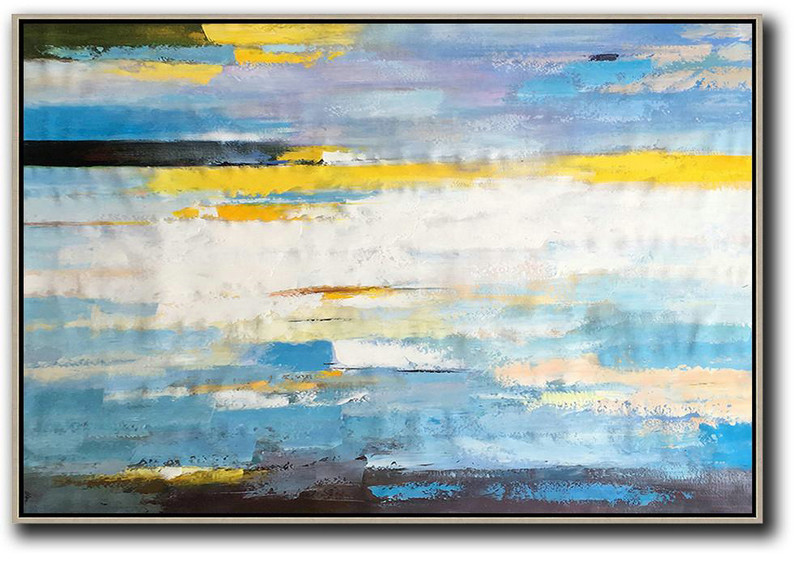 Handmade Painting Large Abstract Art,Horizontal Abstract Landscape Art,Art Work White,Yellow,Blue,Purple,Black