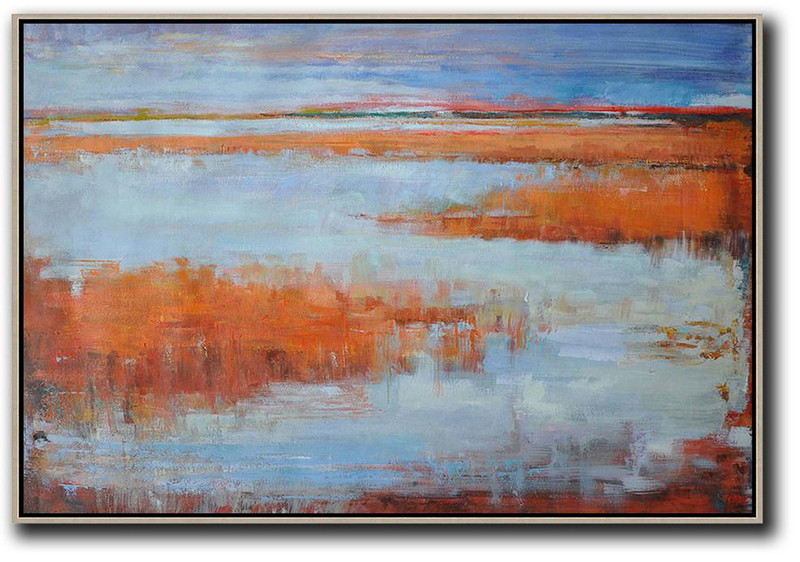 Large Abstract Painting,Horizontal Abstract Landscape Oil Painting On Canvas,Large Wall Art Canvas Blue,Orange,Grey,Red