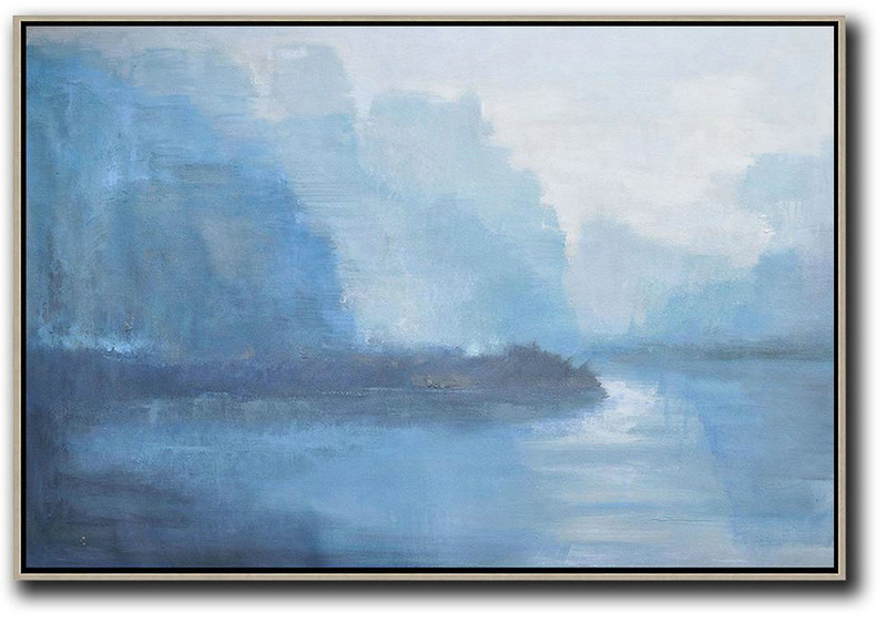 Hand Painted Extra Large Abstract Painting,Horizontal Abstract Landscape Oil Painting On Canvas,Wall Art Ideas For Living Room Purple Grey,Light Blue,White
