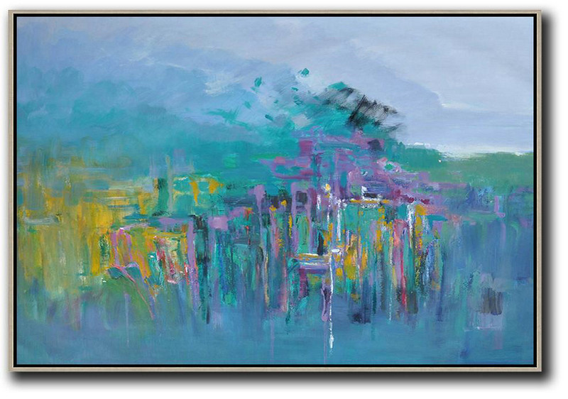 Handmade Painting Large Abstract Art,Horizontal Abstract Landscape Oil Painting On Canvas,Hand Painted Original Art Blue,Yellow,Grey,Purple