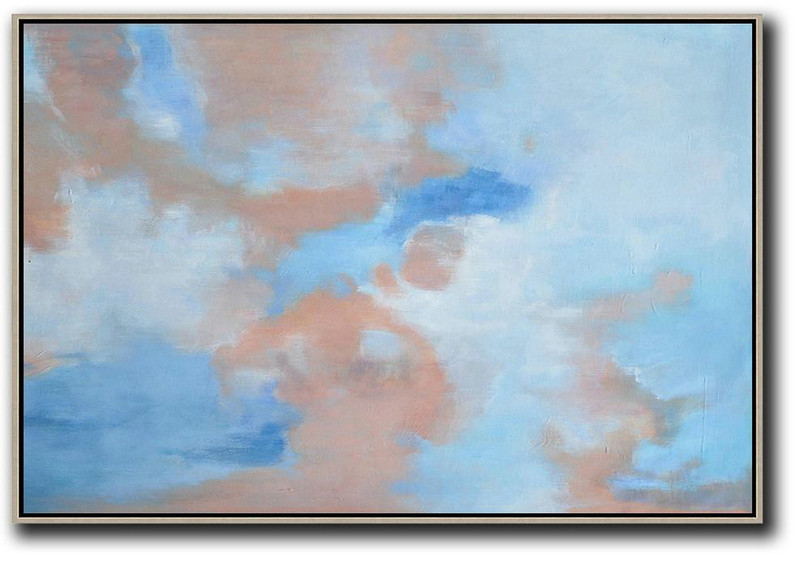 Huge Abstract Painting On Canvas,Horizontal Abstract Landscape Oil Painting On Canvas,Size Extra Large Abstract Art Sky Blue,Nude,White
