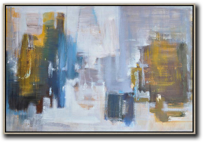 Original Painting Hand Made Large Abstract Art,Horizontal Abstract Landscape Oil Painting On Canvas,Modern Abstract Wall Art White,Blue,Earthy Yellow,Grey