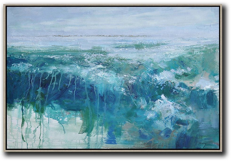 Extra Large Acrylic Painting On Canvas,Horizontal Abstract Landscape Oil Painting On Canvas,Unique Canvas Art Blue,Grey,Green