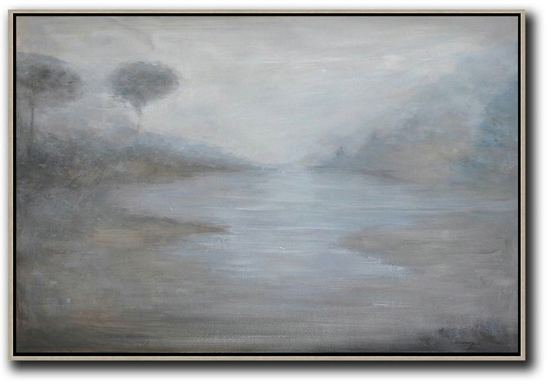 Extra Large Painting,Horizontal Abstract Landscape Oil Painting On Canvas,Living Room Canvas Art Grey,White,Blue