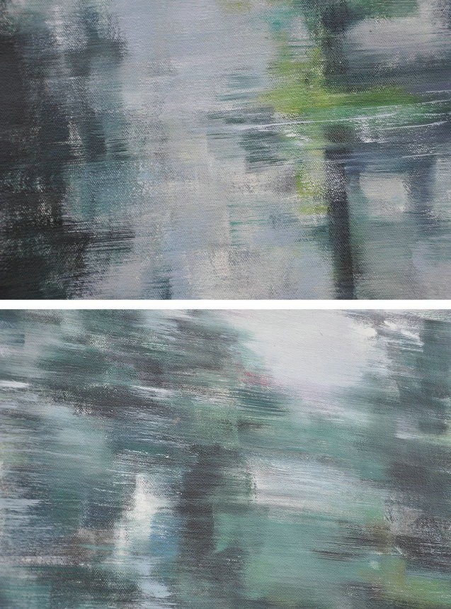 Handmade Painting Large Abstract Art,Horizontal Abstract Landscape Oil Painting On Canvas,Hand Painted Original Art Grey,Dark Green,White